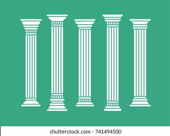 Set of greek roman and oriental columns. Vector isolated illustration. White silhouette.