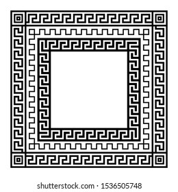 Set of Greek traditional meander square frames. Black and white vector illustration