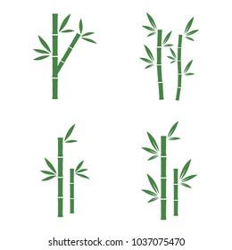 set of green bamboo vector illustration