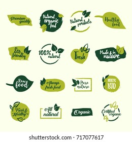 Set of green bio, ecology, organic logos and icons, labels, tags and elements.