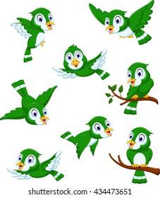 set of green bird cartoon posing