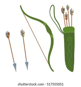 Set of green bow and quiver of arrows. Vector illustration