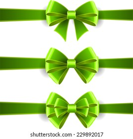 Set of green bows isolated on white