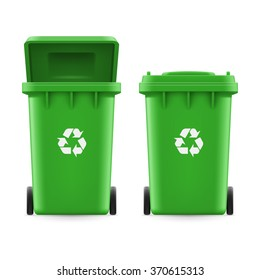 Set of green buckets for trash with sign arrow