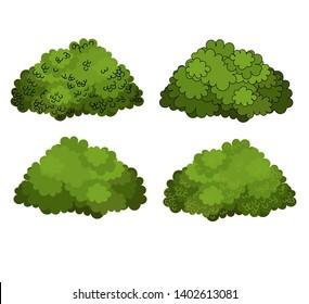 Set of green bushes vector