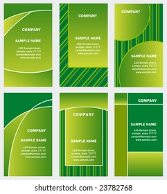 set of green business card template