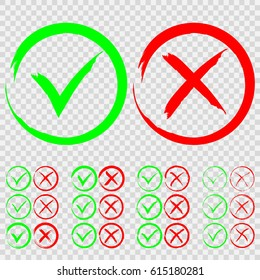 Set of green check mark OK and red X icons isolated on transparent background. Tick and cross signs. Yes and No symbols