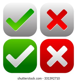 Set of green check-marks, ticks and red crosses
