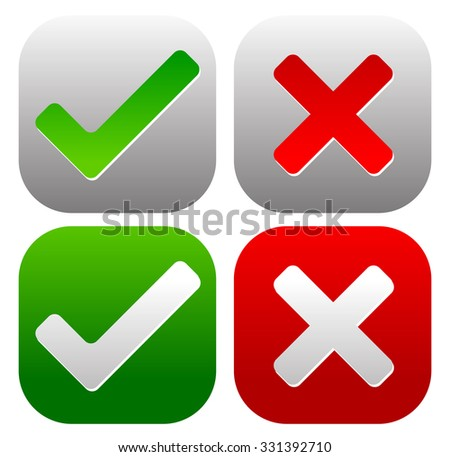 Set Green Checkmarks Ticks Red Crosses Vector De Stock Libre De