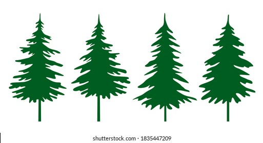 A set of green Christmas Trees. Winter season design elements and simply pictogram collection. Isolated vector Christmas Tree Icons and Illustration.