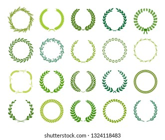 Set of green circular silhouette laurel foliate, wheat, oak and olive wreaths depicting an award, achievement, heraldry, nobility. Vector illustration.