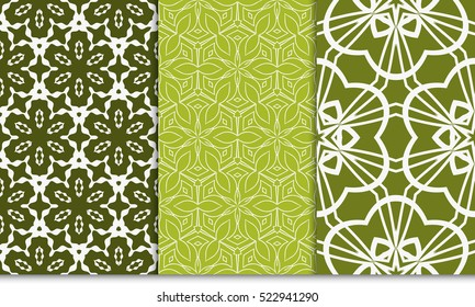 set of green color decorative floral ornament. modern pattern. seamless vector illustration. for interior design, textile, wallpaper