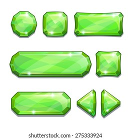 Set of green crystal buttons, isolated on white
