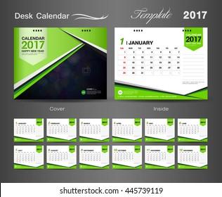 set Green Desk Calendar 2017 vector template, cover, flyer design, Business brochure, catalog, leaflet, printing layout