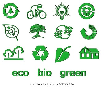Set of green eco & bio icons, stickers and tags