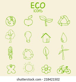 Set of green eco icons, hand drawn sketch vector illustration