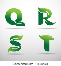 Set of green eco letters logo with leaves: Q,R,S,T