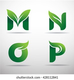 Set of green eco letters logo with leaves: M,N,O,P