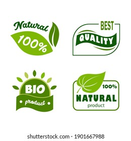 Set of green eco-labels. Organic food, vector illustration for the food market, e-commerce, restaurant, healthy life, and premium quality food and drink promotion.