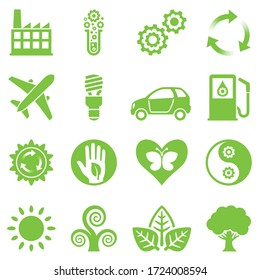 set of green ecology icon