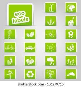 Set of green ecology labels