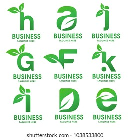 Set of green Ecology letters logo with leaves, h,a,j,g,f,k,i,d,e