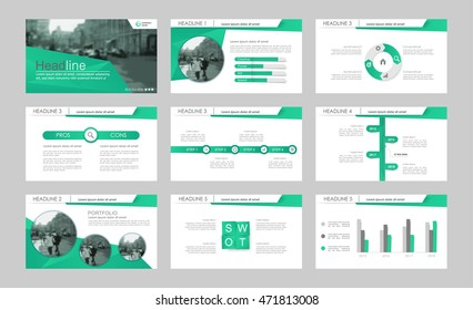 Set of green elements abstract templates. Presentation templates. Use in presentation, flyer, corporate report, marketing, advertising