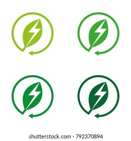 A set of green energy icons