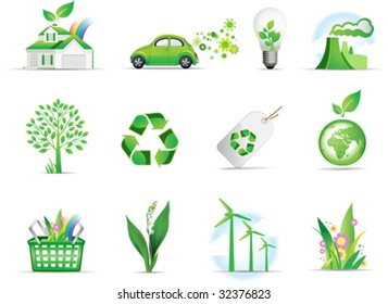 Set of green environmental icons. All elements and textures are individual objects. Vector illustration scale to any size.