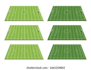 set of green football fields. stripe lawn. 3d illustration. vector illustration.