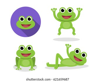 Set of green frog in cartoon style, vector