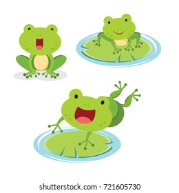 Set of green frog in different pose. Vector illustration.