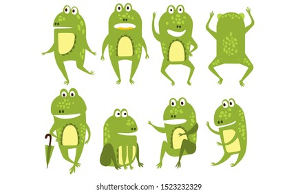 Set of green frogs in different poses and with various emotions. Funny humanized toads. Colorful flat vector icons