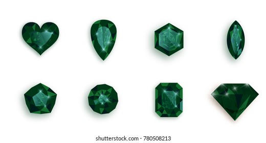 Set of green gemstones. Vector illustration of emeralds.