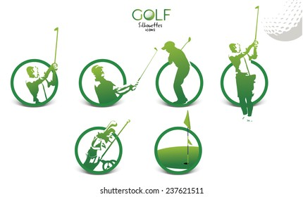 Set of green golf silhouettes icons, illustration isolated on white background