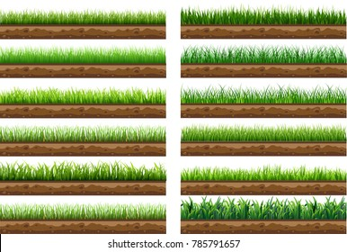 set of green grass with a beautiful natural ground separated from a white background. Used for vector illustration. isolated