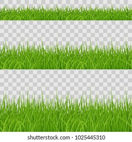 Set of Green Grass Elements on Transparent Background