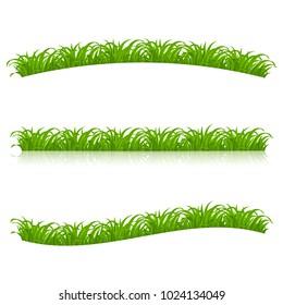 Set of Green Grass for Spring or Nature Design. Illustration on White Background