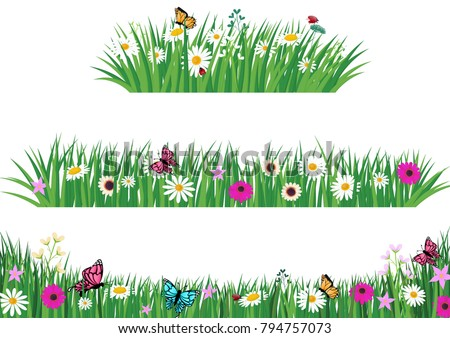 Garden Template | Set Green Grass Template Park Garden Stock Vector Royalty Free