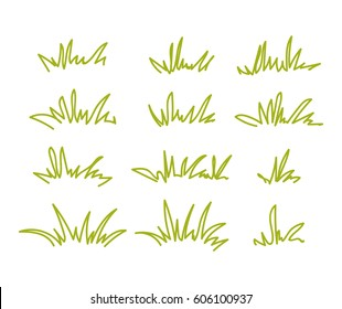 Set of green grass tufts