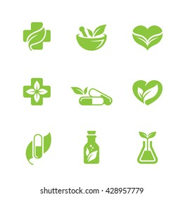 Set of green herbal medicine icons isolated on white background. Can be used for pharmacy, homeopathy, alternative medicine, organic or natural concept logo design