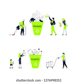 Set of green horizontal banners template for garbage recycling. Zero waste concept poster. People sorting waste rubbish and containers images. Flat Art Vector illustration