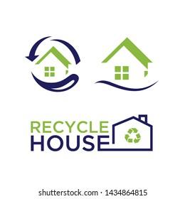 Set of Green house logo vector. Eco green house. Eco Friendly house icon. Green home art symbol