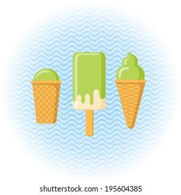 set of green ice cream