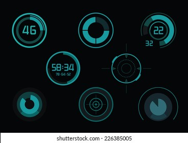 Set of green infographics as head-up display