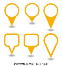 Set of green isolated pointers and markers different shapes with shadow vector