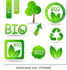 set of green labels and stickers