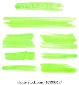 Set of green marker strokes. Vector collection of paint stains.