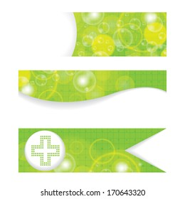 Set of green medical banners or website headers