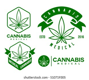 set of green medical cannabis emblem, logo . classic vintage